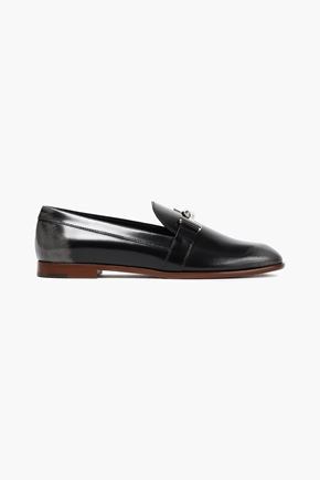 TOD'S Appliquéd glossed-leather loafers