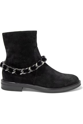 CASADEI Chain-embellished suede ankle boots