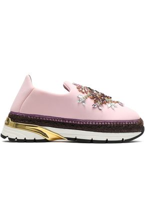 DOLCE & GABBANA Crystal-embellished neoprene platform slip-on sneakers