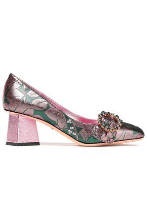DOLCE & GABBANA حذاء بمب من البروكاد اللامع مزين بالكريستال