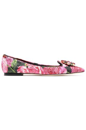 DOLCE & GABBANA Crystal-embellished floral-print brocade point-toe flats