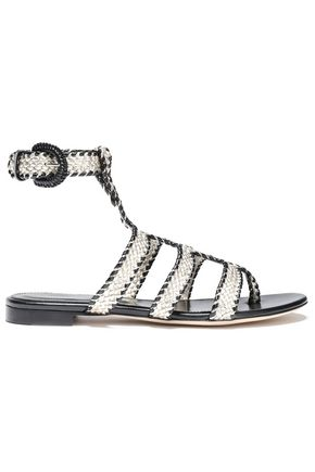 SERGIO ROSSI Metallic-trimmed braided leather sandals