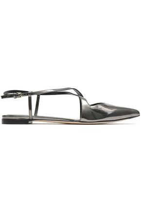 SERGIO ROSSI Cutout metallic leather point-toe flats