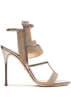 SERGIO ROSSI Crystal-embellished metallic leather sandals