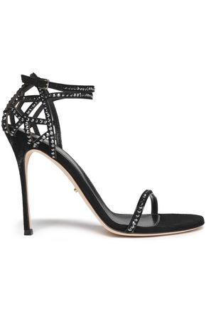 SERGIO ROSSI Cutout crystal-embellished suede sandals