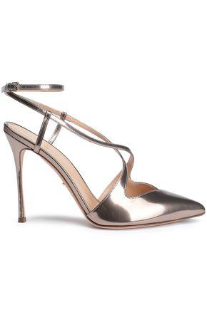 SERGIO ROSSI Cutout metallic leather slingback pumps