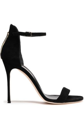 SERGIO ROSSI Embellished cutout suede sandals