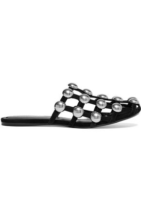 ALEXANDER WANG Amelia cutout studded suede slippers