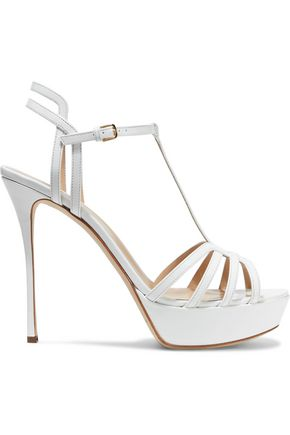 SERGIO ROSSI Ines cutout patent-leather platform sandals