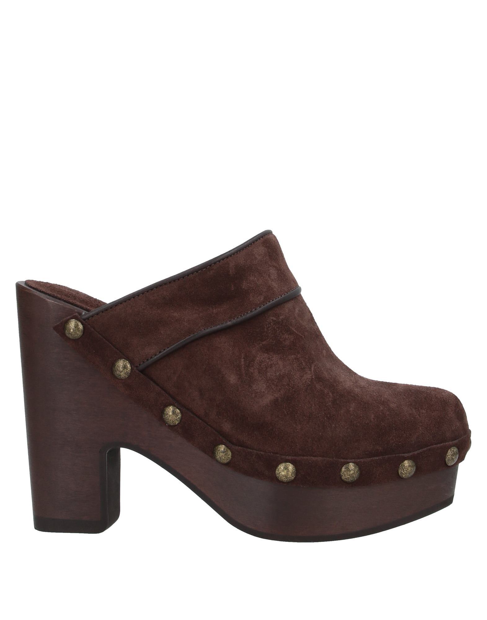 PHILOSOPHY di LORENZO SERAFINI Mules. suede effect, studs, solid color, round toeline, square heel, wooden heel, leather lining, rubber sole, contains non-textile parts of animal origin. Soft Leather