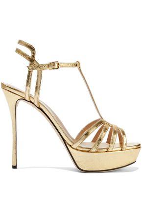 SERGIO ROSSI Ines cutout metallic crinkled-leather platform sandals