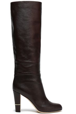 SERGIO ROSSI Malabar textured-leather knee boots