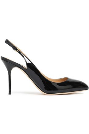 SERGIO ROSSI Patent-leather slingback pumps