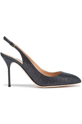 SERGIO ROSSI Glittered leather slingback pumps