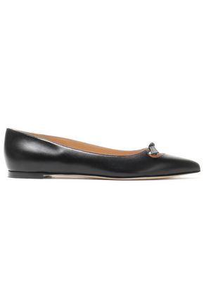 SERGIO ROSSI Bow-embellished leather point-toe flats