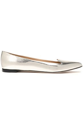 SERGIO ROSSI Metallic cracked-leather point-toe flats
