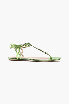 SERGIO ROSSI Metallic cracked-leather sandals