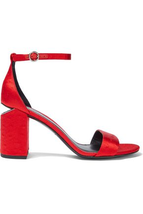 ALEXANDER WANG Abby ostrich-effect satin sandals