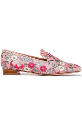 STUART WEITZMAN Embroidered cotton-blend canvas loafers