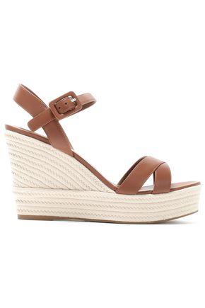SERGIO ROSSI Leather espadrille platform sandals