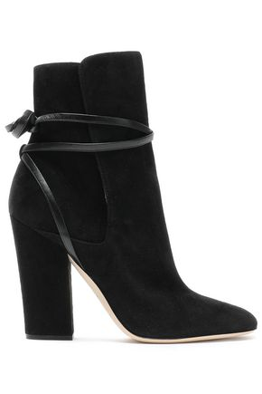 SERGIO ROSSI Leather-trimmed lace-up suede ankle boots