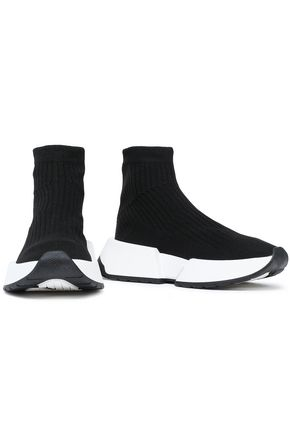 Mm6 Maison Margiela Sneakers MM6 MAISON MARGIELA WOMAN RIBBED-KNIT SLIP-ON SNEAKERS BLACK