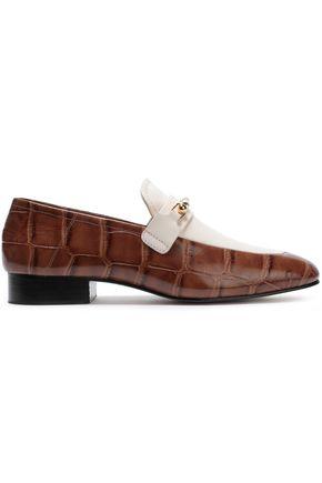 JOSEPH Paneled croc-effect leather loafers