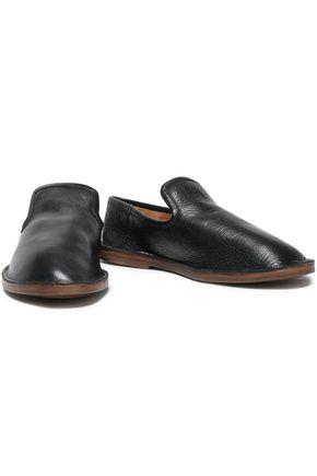 Joseph Woman Textured-leather Slippers Black