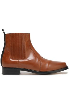 JOSEPH Grosgrain-trimmed leather ankle boots