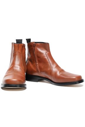 Joseph Woman Grosgrain-trimmed Leather Ankle Boots Light Brown