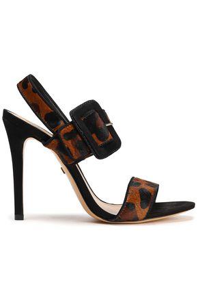 SCHUTZ Suede-trimmed leopard-print calf hair sandals