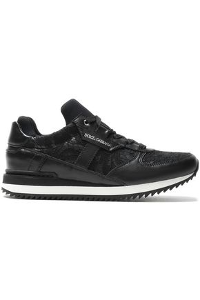 DOLCE & GABBANA Corded lace-appliquéd leather sneakers