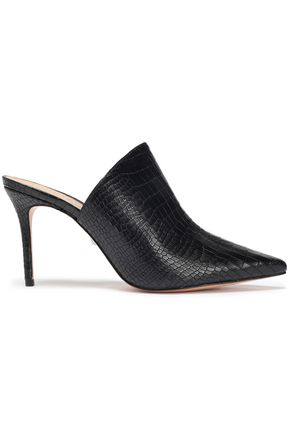 SCHUTZ Croc-effect leather mules