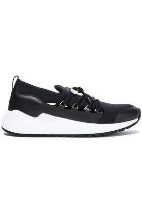 BUSCEMI Leather-paneled scuba sneakers