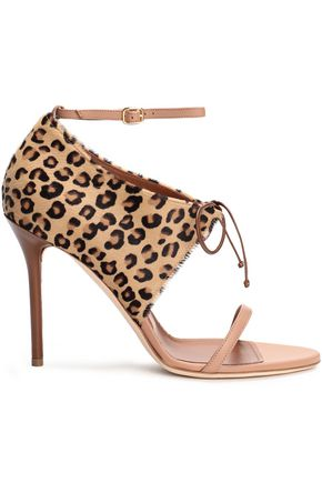 MALONE SOULIERS Johana leather-trimmed leopard-print calf hair sandals