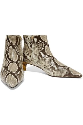 Zimmermann Lace Up Long BootNatural Snake Snake Embossed $1,400 RRP Leather