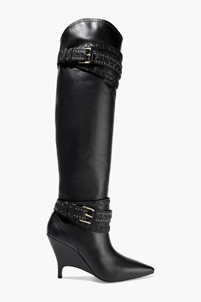 ZIMMERMANN Embellished perforated leather knee boots