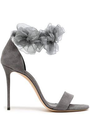 CASADEI Organza-trimmed suede sandals