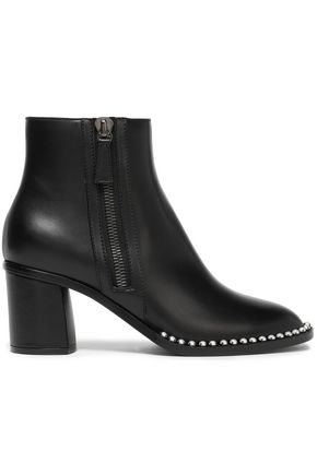 CASADEI Faux pearl-studded leather ankle boots