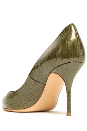 CASADEI Croc-effect glossed-leather pumps