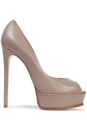 CASADEI Leather peep-toe platform pumps
