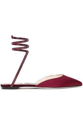 RENE' CAOVILLA Crystal-embellished satin point-toe flats