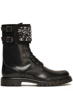 RENE' CAOVILLA Crystal-embellished leather ankle boots