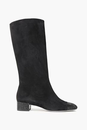 RENE' CAOVILLA Crystal-embellished suede knee boots