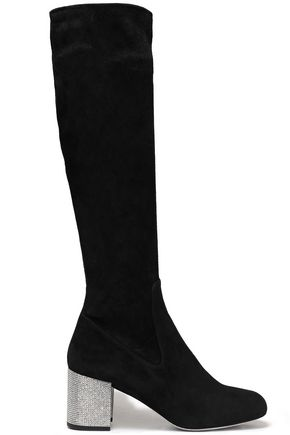 RENE' CAOVILLA Crystal-embellished stretch-suede knee boots