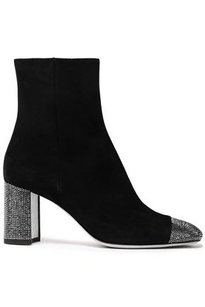 RENE' CAOVILLA Crystal-embellished suede ankle boots