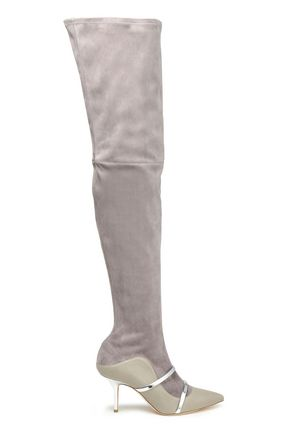 MALONE SOULIERS Madison leather-paneled metallic-trimmed over-the-knee stretch-suede boots
