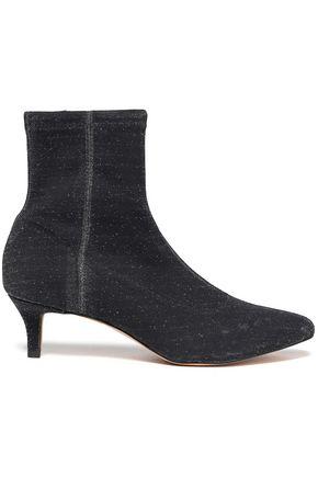 REBECCA MINKOFF Metallic stretch-knit ankle boots