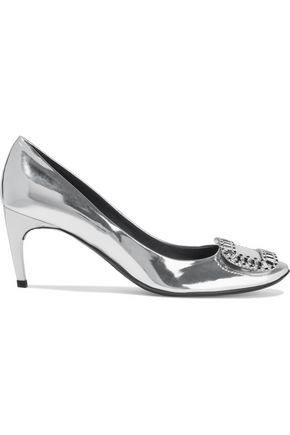 ROGER VIVIER Vertigo crystal-embellished mirrored-leather pumps