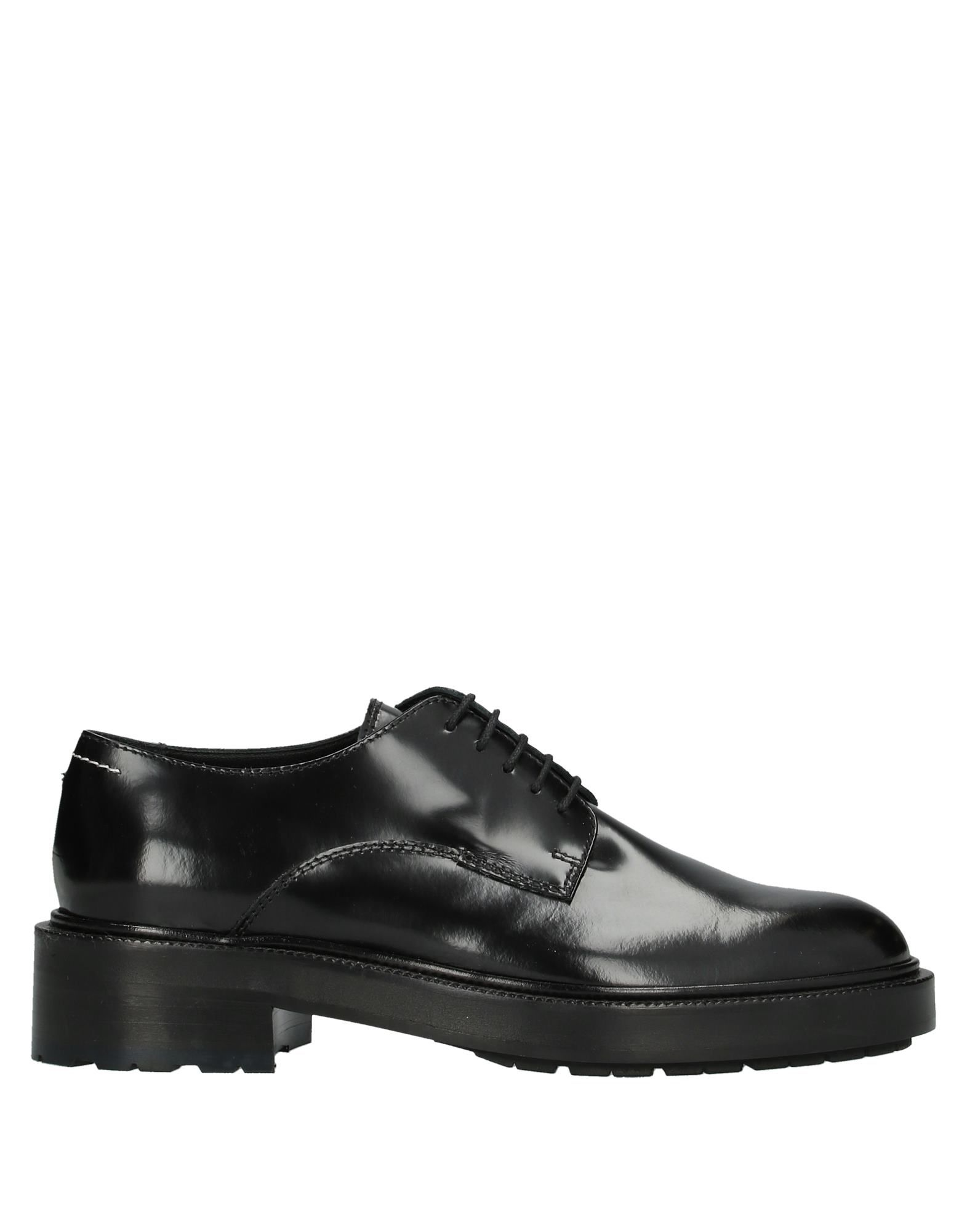 MM6 MAISON MARGIELA Lace-up shoes. polished leather, stitching, solid color, round toeline, square heel, leather lining, rubber cleated sole, contains non-textile parts of animal origin. Soft Leather